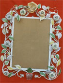 Iron Floral Handpainted Mirror Frame